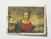Italian madonna stamp, circa 1970 — Stock Photo