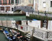 Venetian gondola boats & bridge — Stock Photo