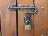 Padlock and handle — Stockfoto