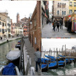 Venetian souvenirs & gondola boats — Stock Photo