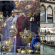 Venetian carnival masks & gondola boats — Stock Photo