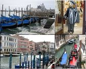 Gondola boats & carnival costume — Stock Photo