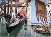 Venetian gondola boats and flag — Stock Photo