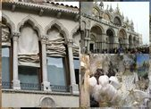 Venetian courtains, masks & basilica — Stock Photo
