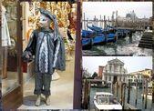 Venetian carnival costumes, gondola boats & church — Stock Photo