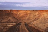 Dead-end road in sand quarry — Stock Photo