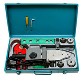 A set of toolsfor weldingplastic pipeisolatedon a white — Stock Photo