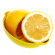 Fresh lemon on a plate, isolated on a white background. — Stock Photo
