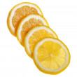 Fresh lemon, sliced, isolated on a white background. — Stock Photo