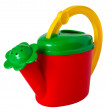 Children's multicolored watering can, isolated on a white backgr — Stock Photo