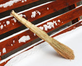 Broom in the snow. — Stock Photo