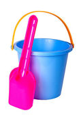 Children's bucket and shovel, isolated on a white background. — Photo