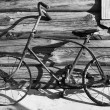 Old bicycle (B&W) — Stock Photo