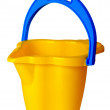 Royalty-Free Stock Photo: Children\'s yellow bucket isolated on a white background.
