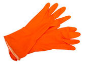 The orange rubber gloves isolated on white background. — Stock Photo