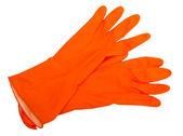 The orange rubber gloves isolated on white background. — Stock Photo