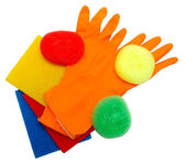 Kit for cleaning (rubber gloves, sponges, napkins) isolated on a — Stock Photo