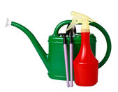 Tool kit for the care of indoor plants (watering can, rake, shov — Stock Photo