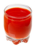 A glass of tomato juice isolated on white background. — Stock Photo