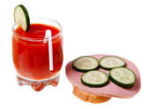 A glass of tomato juice and sausage sandwich isolated on white b — Stock Photo