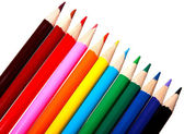 Colorful watercolor pencils for children isolated on white backg — Stock Photo