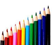 儿童孤立上白色黑色的彩色水彩铅笔 — 图库照片