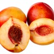 Stock Photo: Fresh red peach isolated on white background.