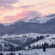 Sunrise at winter mountain landscape — Stock Photo