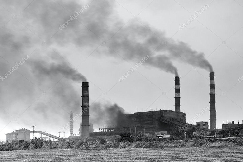 Schwarz / weiß Foto der Anlage mit Rauch — Stockfoto #9164040