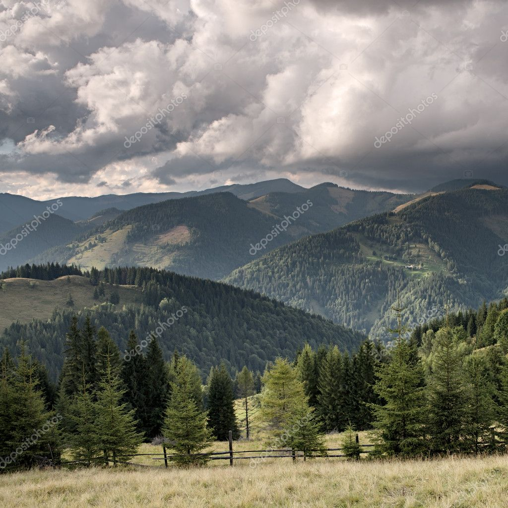 Mountain valley before rain. Carpathian mountains, Ukraine — Stock Photo #9180056