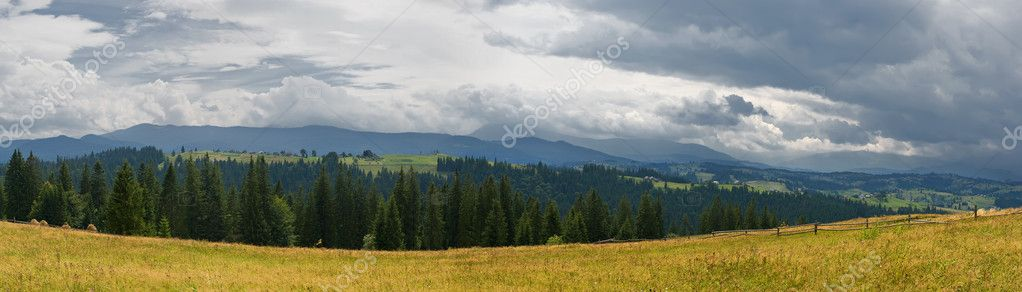Panorama of mountain valley before rain. Carpathian mountains, Ukraine — Stock Photo #9208450