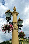 Květinový koš na pouliční lampa — Stock fotografie