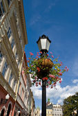 Old streetlight with flowers — Stock Photo