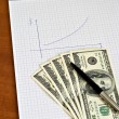 Pen and notepad with money — Stock Photo #9226020