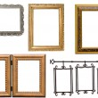 Set of antique metal and wooden picture frame - Stock Photo