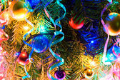 Christmas-tree decorations with lights — Stockfoto