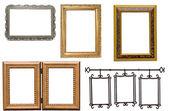 Conjunto de porta-retrato de metal e de madeira antigo — Foto Stock