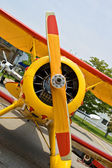 Propeller and engine of vintage airplane — Stock Photo