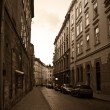 Retro image of the european old street — Stock Photo