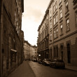 Retro image of the european old street - Stock Photo