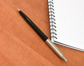Pen with a white spiral squared notebook — Stock Photo