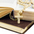 Stock Photo: Old holy bible with cross