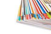 Pile of colorful magazines — Stockfoto
