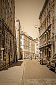 Historic street in old part of europe town — Stock Photo