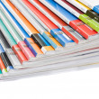 Stock Photo: Pile of colorful magazines