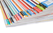 Pile of colorful magazines — Stock Photo
