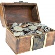 Opened wooden chest with different coins in it — Stock Photo