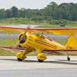 Yellow vintage airplane — Stock Photo