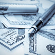 Fountain pen on the dollars — Stock Photo #9333529