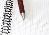 Pen lying on opened notebook — Stock Photo